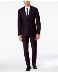 Perry ellis Men's Extra Slim-fit Burgundy Pindot Suit in ...