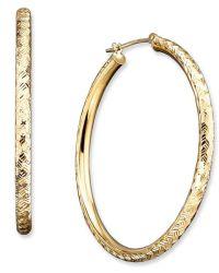 Macy's 14k Gold Diamond-cut Hoop Earrings in Metallic | Lyst