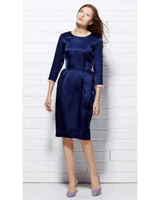 Plakinger Navy Silk Organza Dress With Embellished Sleeves