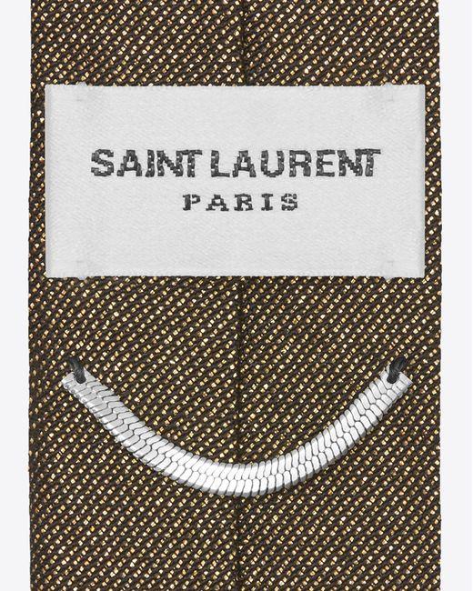 Saint laurent Skinny Tie In Black And Gold Lam in Black