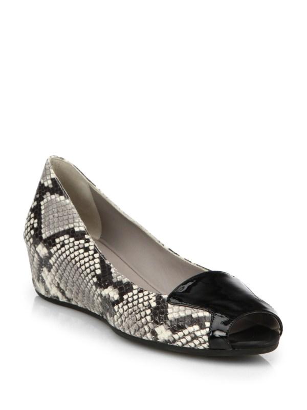 Aquatalia Mag Leather Peep-toe Wedge Pumps In Black - Lyst