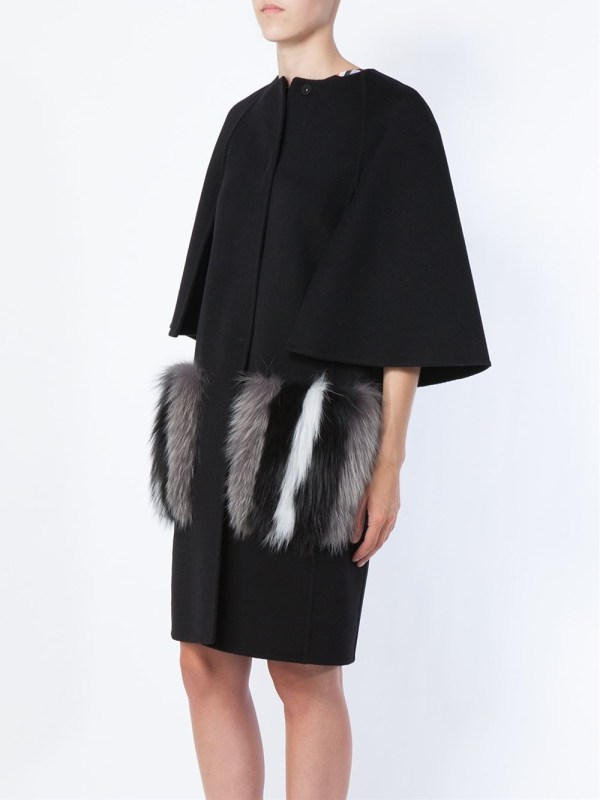 Fendi Arctic Fox Fur Pocket Coat In Black - Lyst