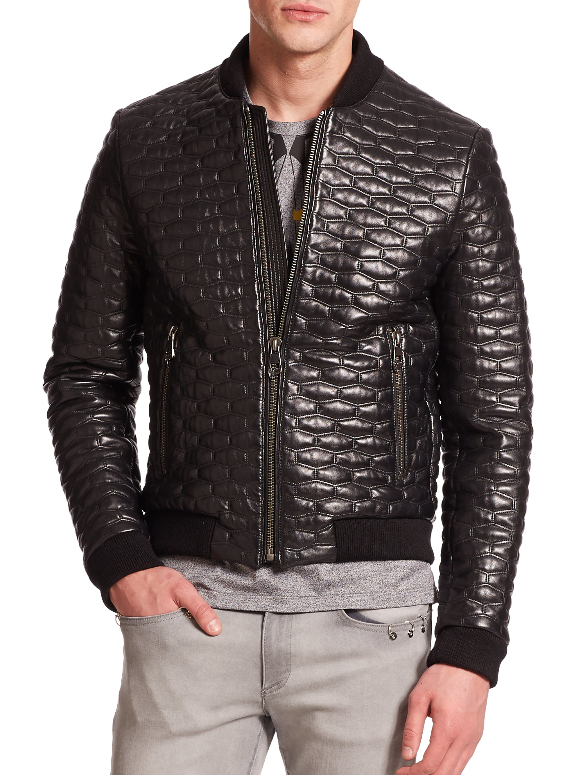 Versace Quilted Leather Jacket in Black for Men  Lyst