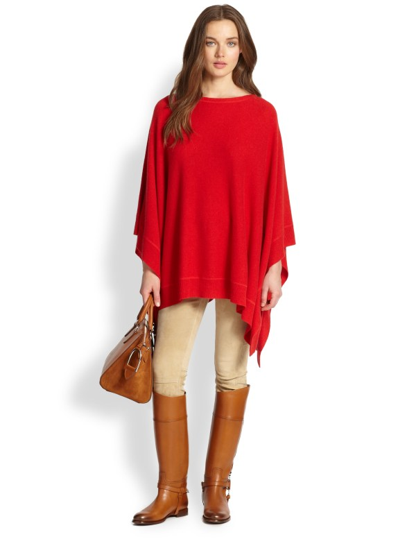 Lyst - Ralph Lauren Blue Label Cashmere Poncho In Red