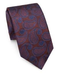 Saks fifth avenue Paisley Silk Tie in Orange for Men   Lyst
