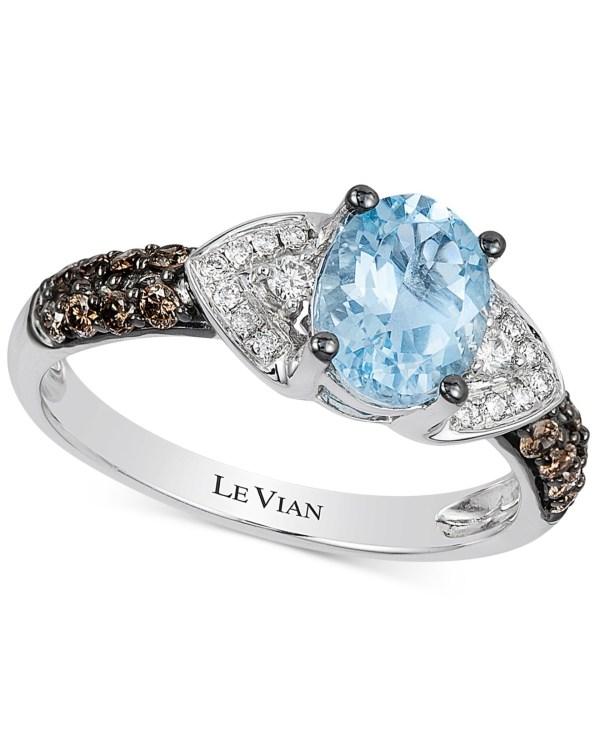 Le Vian Aquamarine and Diamond Ring 14K White Gold