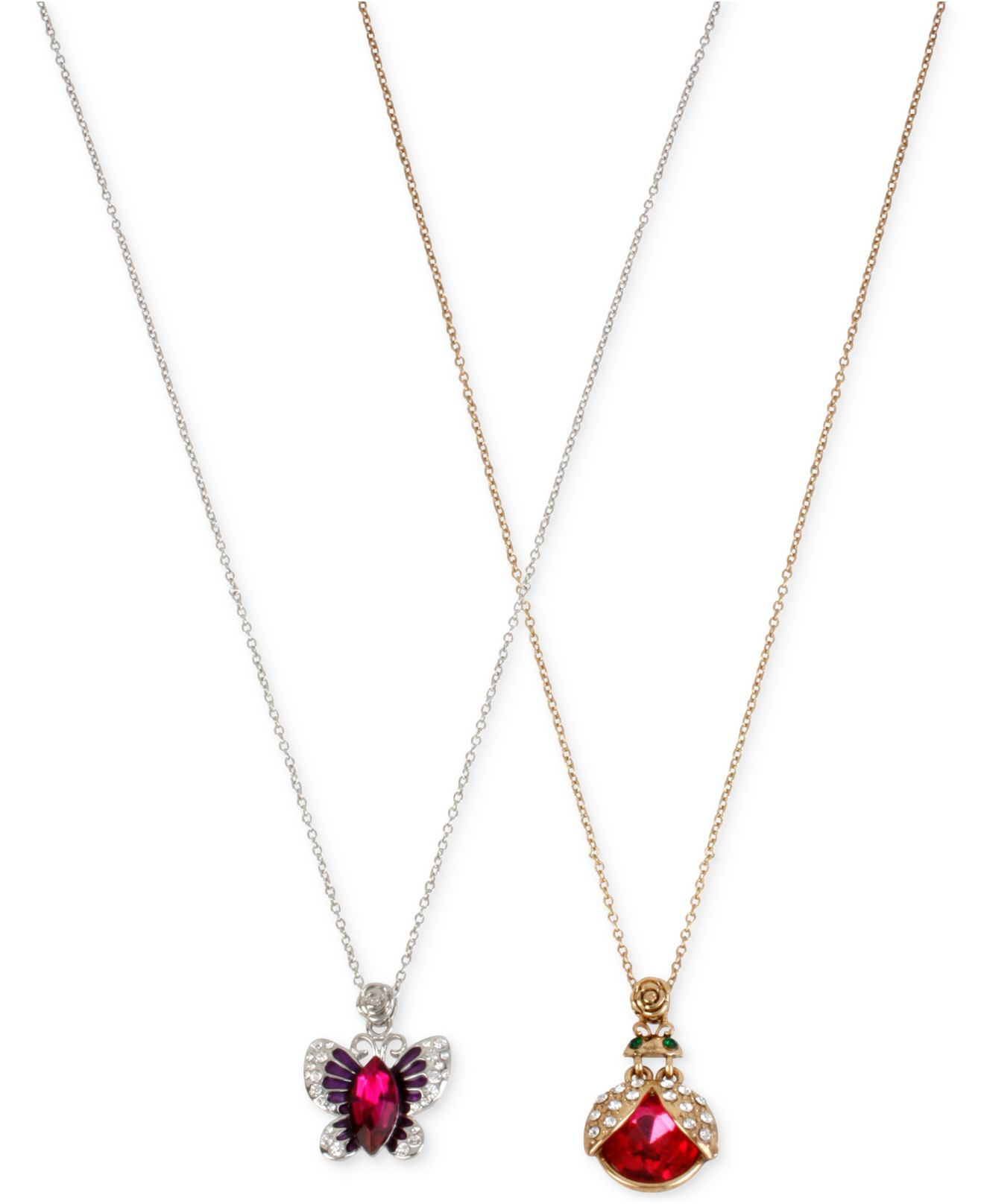 Betsey johnson Two-tone Crystal And Stone Critter Necklace