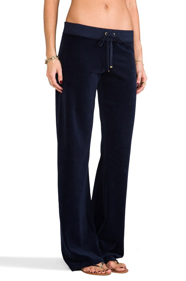 Juicy Couture Classic Velour Original Leg Pants In Blue Lyst