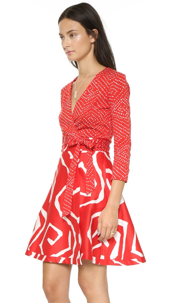 Lyst - Diane Von Furstenberg Amelia Wrap Dress Batik Red