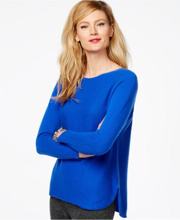 Charter Club Petite Cashmere High- Sweater In Blue Lyst