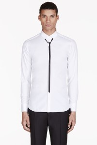 Lyst - Neil Barrett White Skinny Tie Print Shirt in White ...