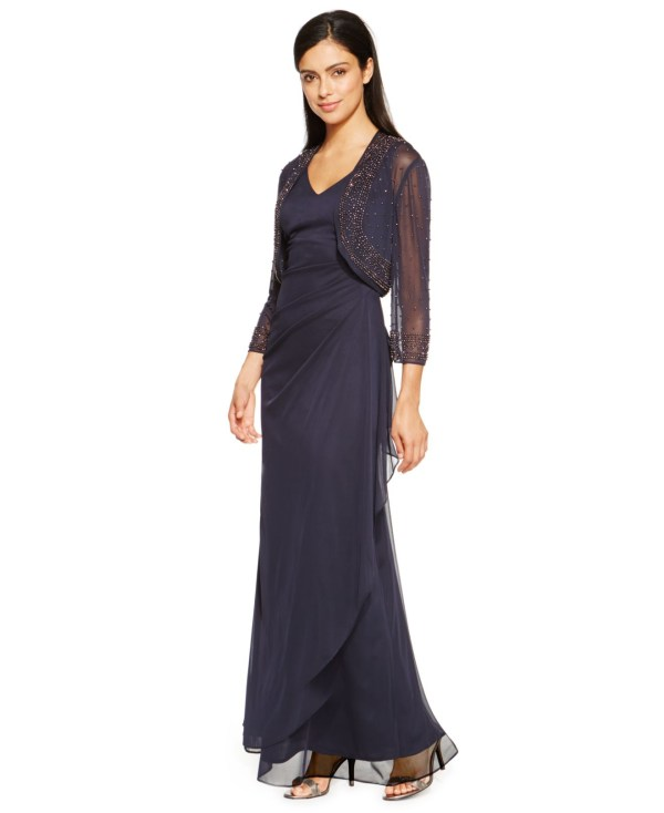 Patra Petite Draped -line Gown And Jacket In Blue Lyst