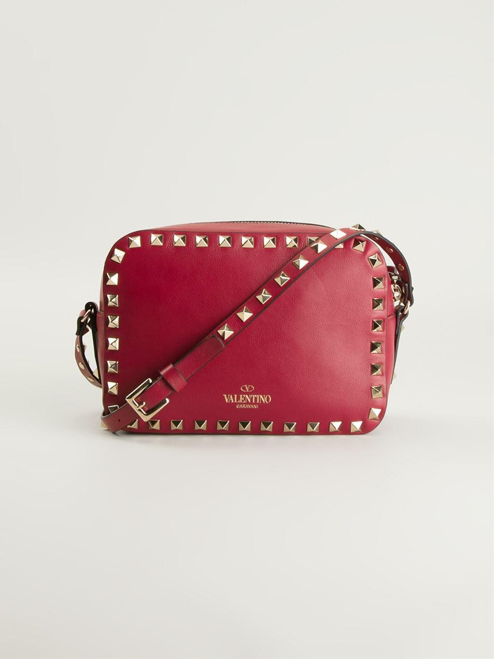 Lyst Valentino Rockstud Cross Body Bag In Red