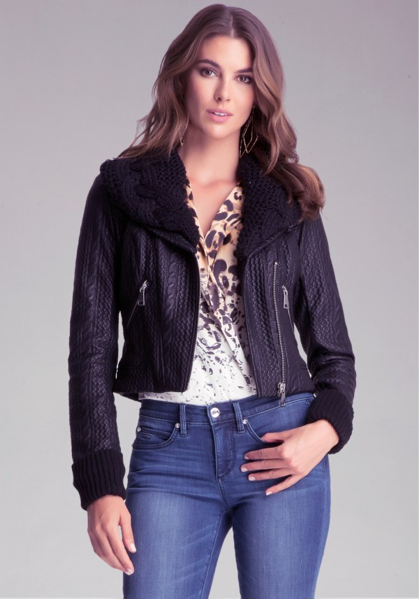 Bebe Bonded Faux Leather Jacket In Black - Lyst