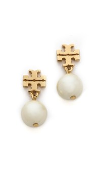Tory burch Evie Drop Earrings - Ivory/shiny Gold in Gold ...