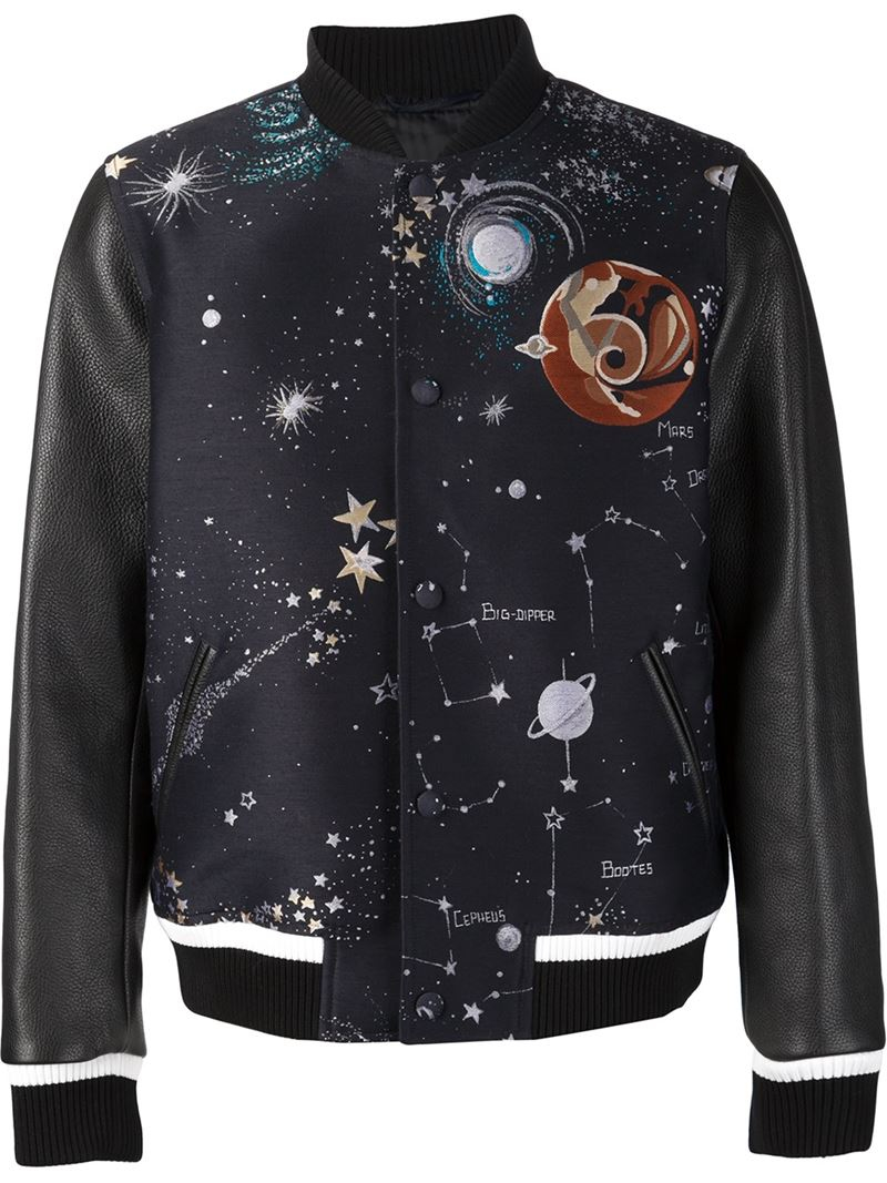 Lyst  Valentino cosmo Varsity Jacket in Black for Men