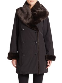 Jane post Faux Fur Shawl-collar Coat in Black | Lyst