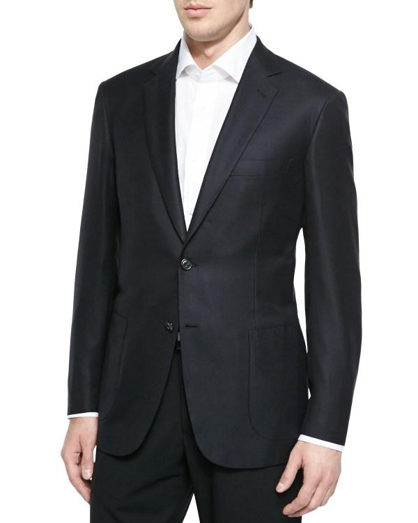 Brioni Wool Twill Blazer Jacket In Black Men Lyst