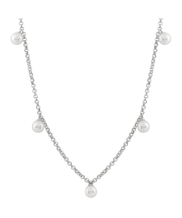 Splendid Dangling White Freshwater Pearl Tin Cup Necklace