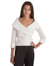 Lyst - Js Collections Shawl Collar Surplice Blouse in White