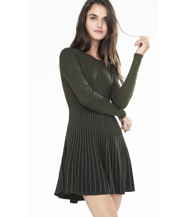 Lyst - Express Olive And Navy Plaited Fit Flare Sweater Dress In Green