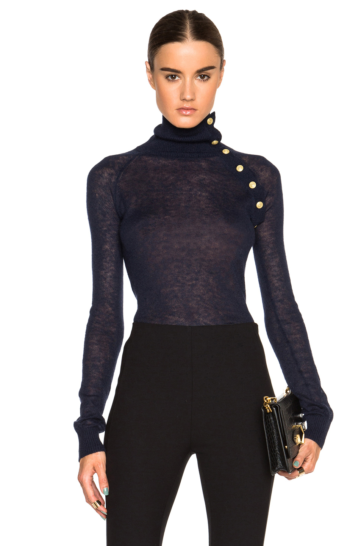 Balmain Button Turtleneck Sweater In Blue Lyst