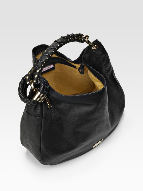 Jimmy Choo Black Leather Sky Studded Bangle Hobo In