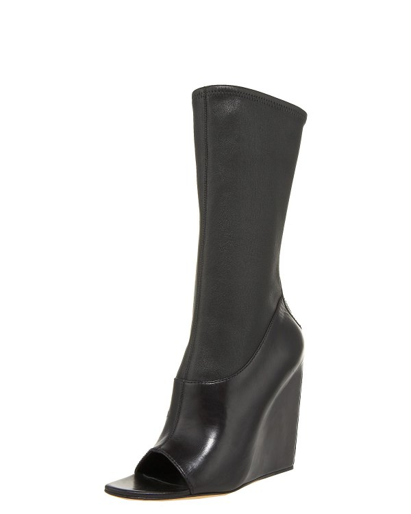 Alexander Wang Stretch-napa Open-toe Wedge Boot In Black