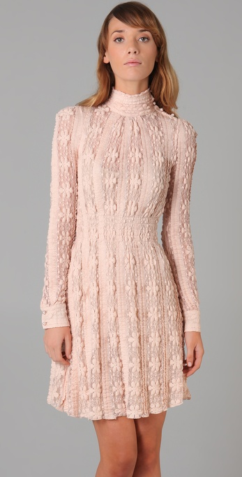 RED Valentino Long Sleeve Lace Dress in Pink  Lyst