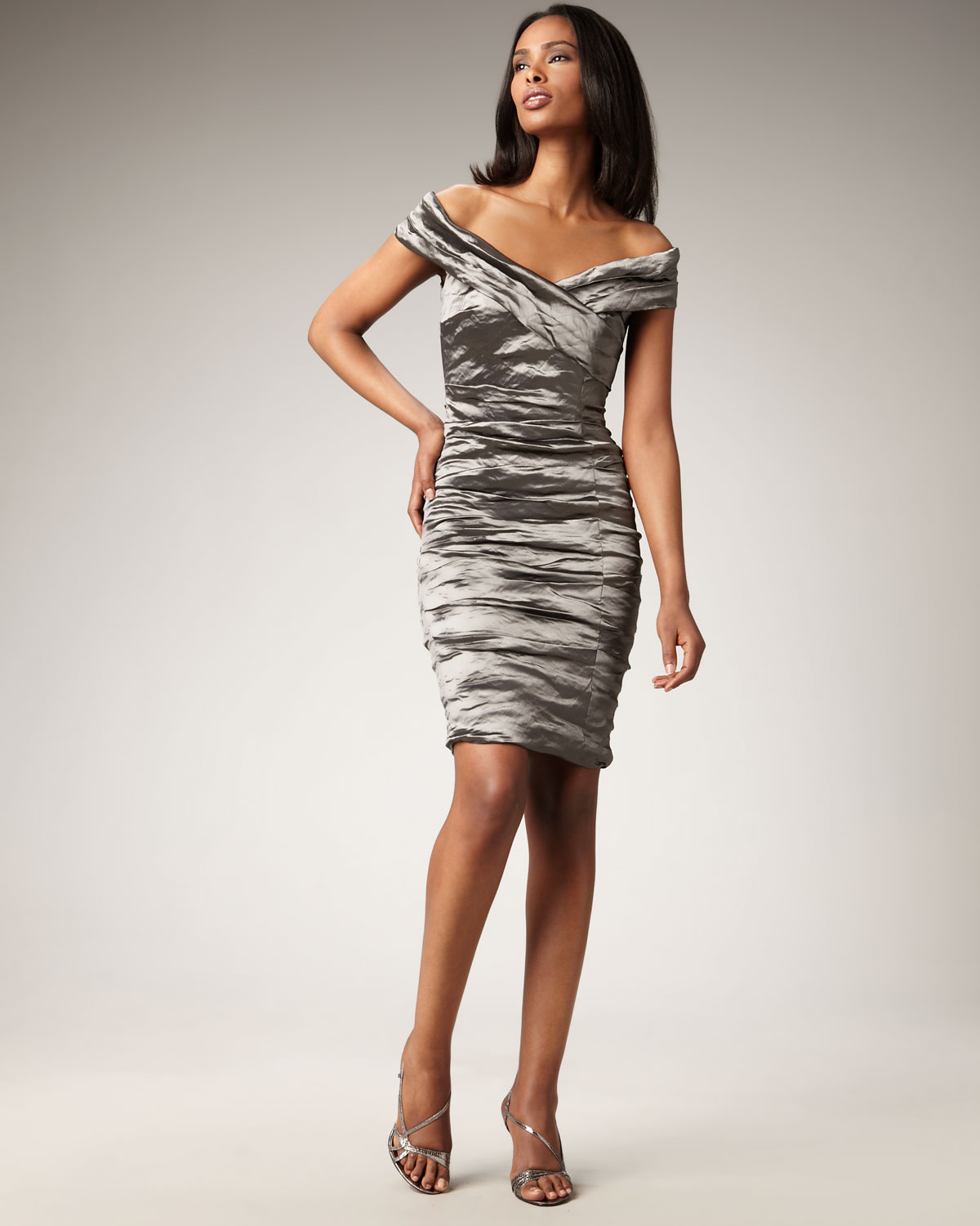 Nicole Miller Technometal Sheath Dress in Gray steel  Lyst