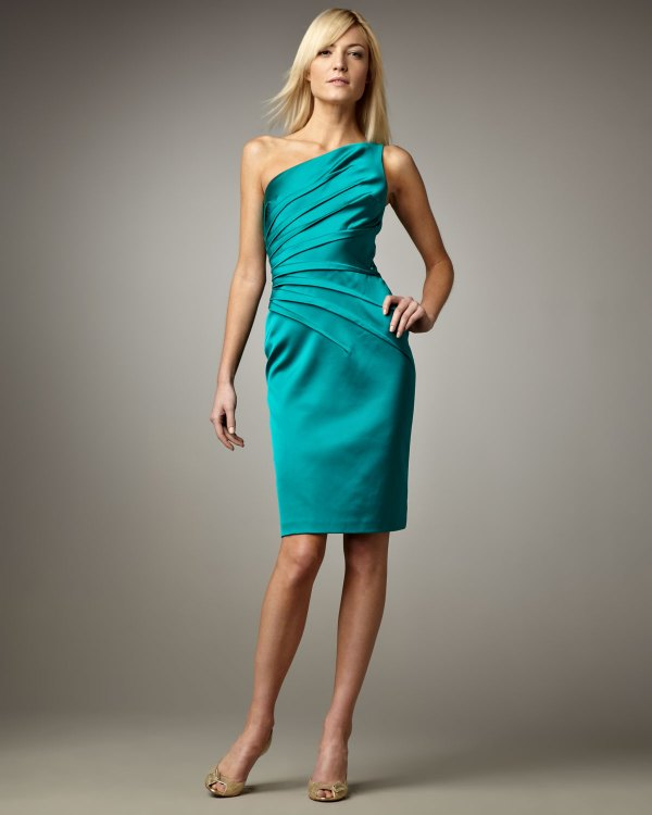 David Meister -shoulder Cocktail Dress In Blue Teal