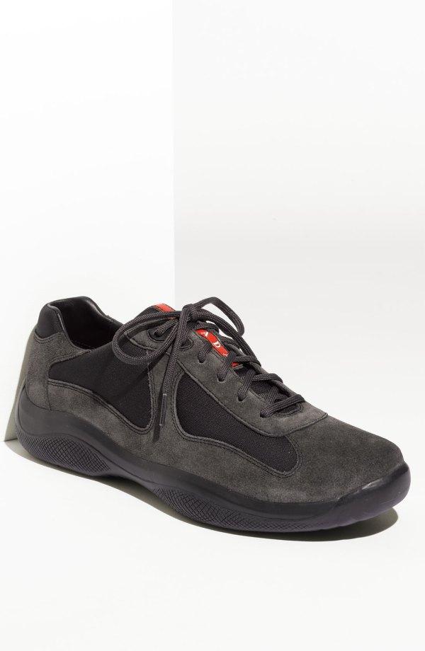 Prada Americas Cup Suede Sneaker Men In Black Lyst