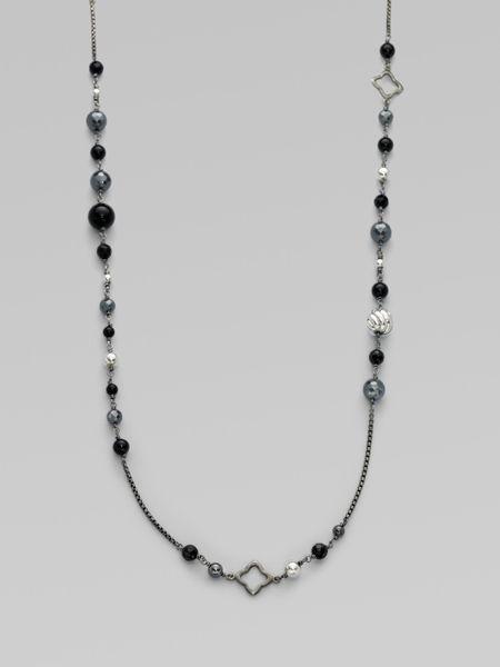 David Yurman Black Onyx, Hematite & Sterling Silver Long