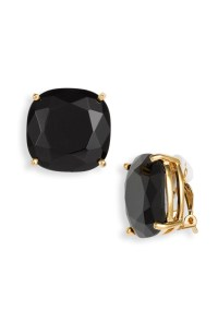 Kate Spade Large Faceted Clip Earrings in Black | Lyst