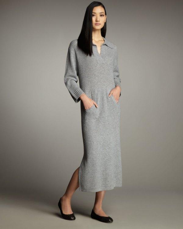 Lyst - Neiman Marcus Cashmere Lounge Dress Gray