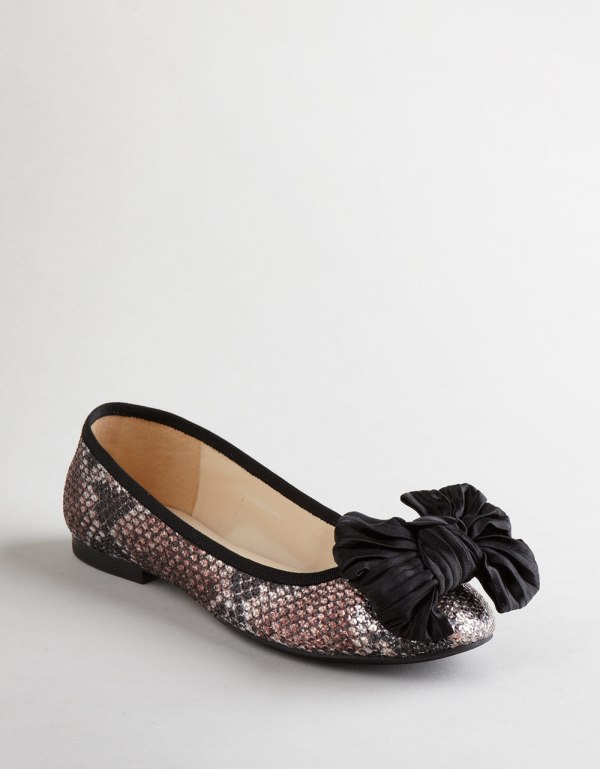 Enzo Angiolini Capaz Bow Ballet Flats In Black Glitter Lyst