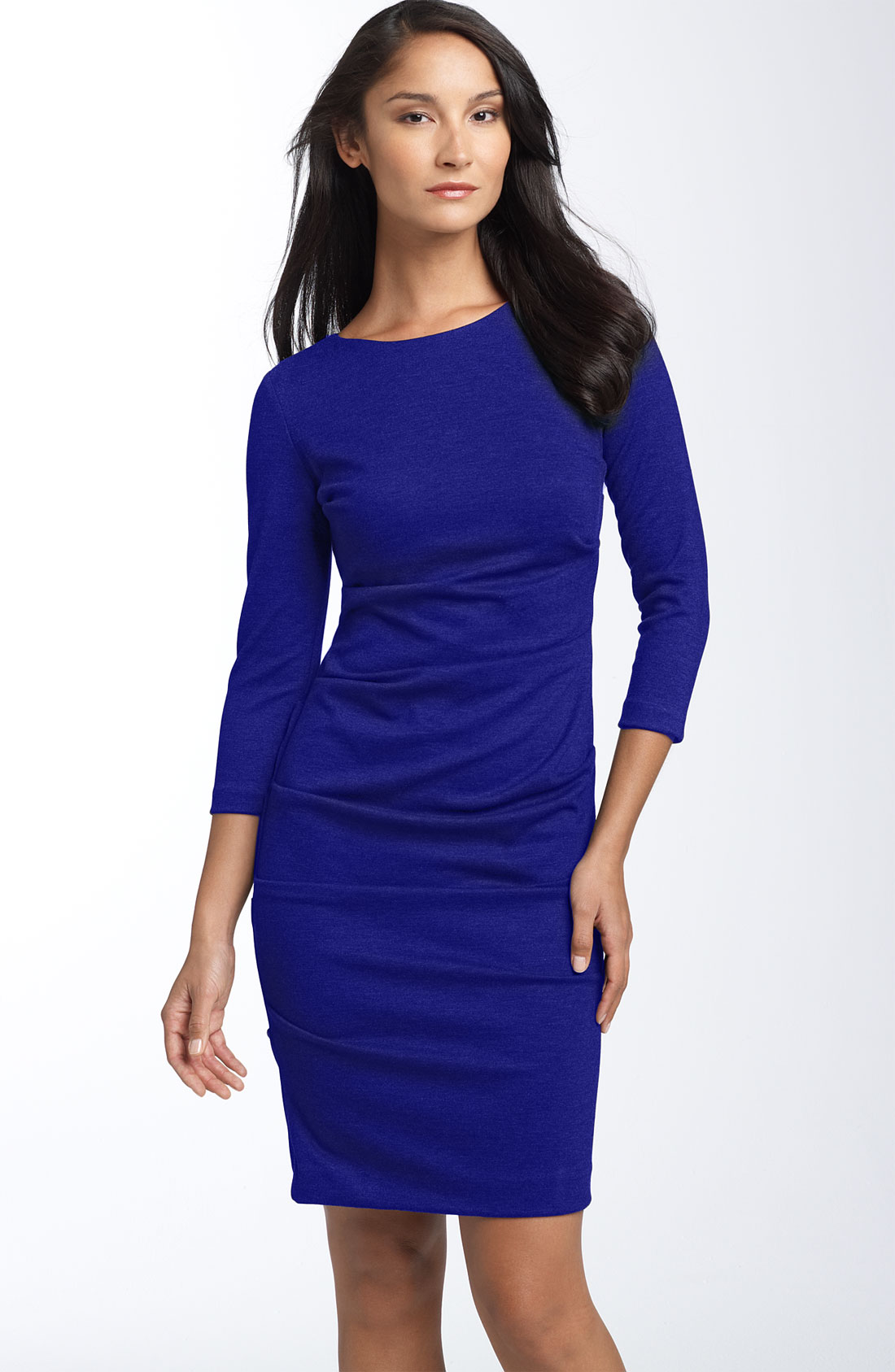Nicole Miller Ruched Ponte Knit Sheath Dress in Blue