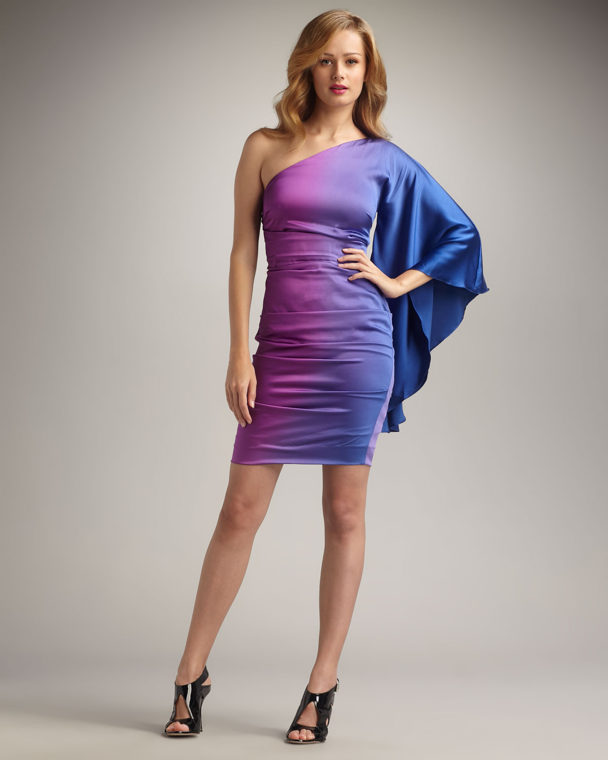 Nicole Miller Onesleeve Ombre Cocktail Dress in Purple