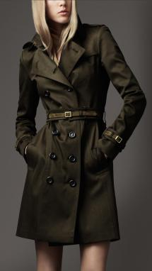 Lyst - Burberry Suede Trim Trench Coat In Green