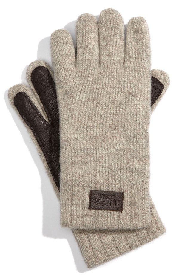 Lyst - Ugg Leather Palm Lambswool Gloves In Natural Men