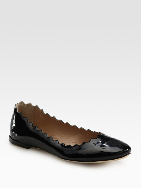 Chloé Scalloped Patent Leather Ballet Flats in Black Lyst