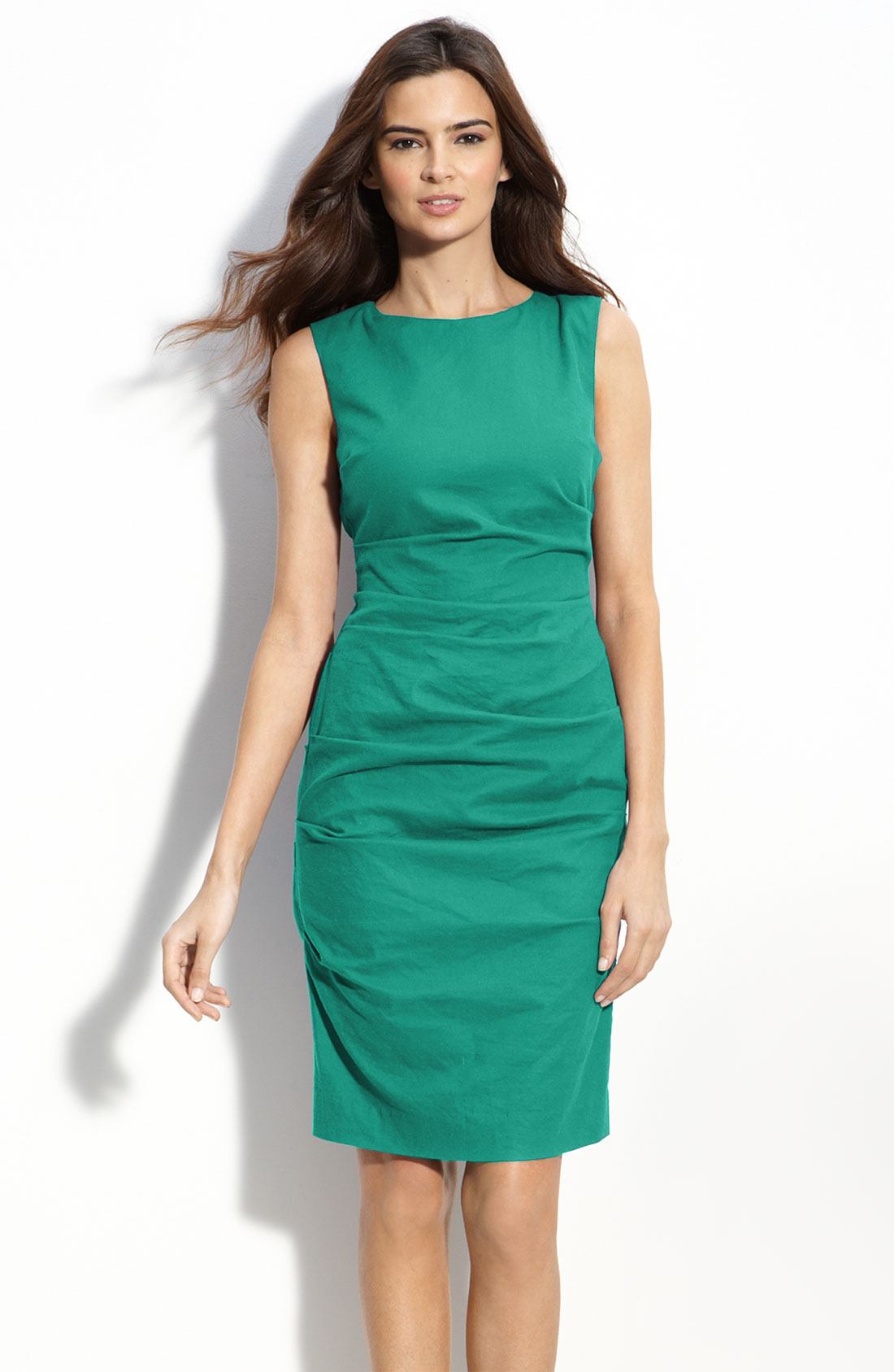 Nicole Miller Stretch Linen Sheath Dress in Green lagoon