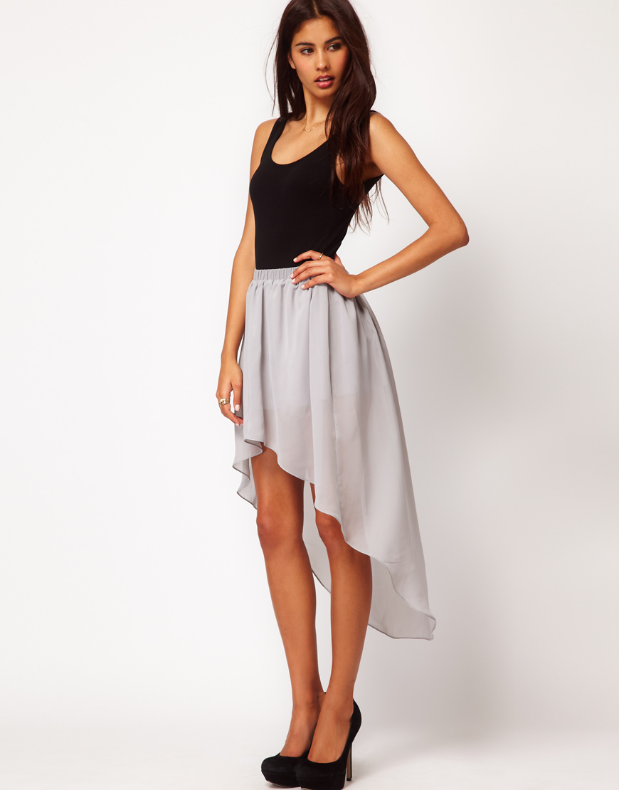 Lyst  Asos Asos Chiffon Skirt with High Low Hem in Gray
