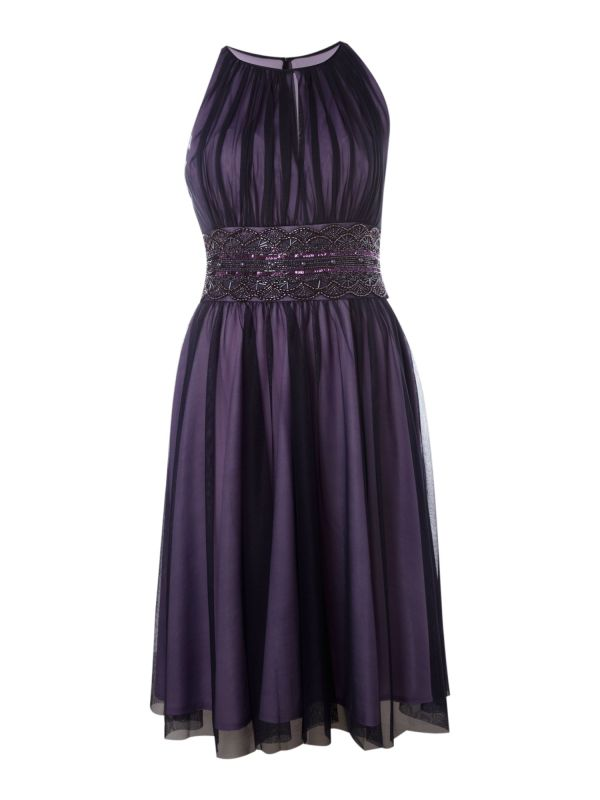 Js Collections Mesh Beaded Keyhole Dress In Purple Lyst