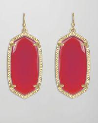 Kendra Scott Elle Earrings Pink Agate in Red (pink) | Lyst