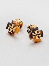 Lyst - Tory Burch Clover Stud Earrings in Brown