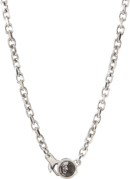 Diesel Stainless Steel Logo Disc Heavy Link Necklace in