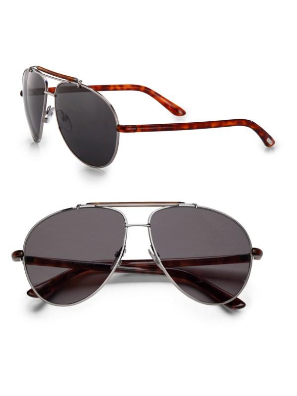Tom Ford Bradley Metal Aviator Sunglasses In Brown