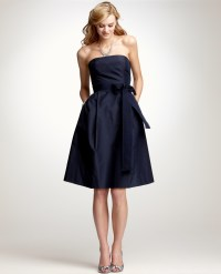 Ann Taylor Silk Taffeta Strapless Bridesmaid Dress in Blue