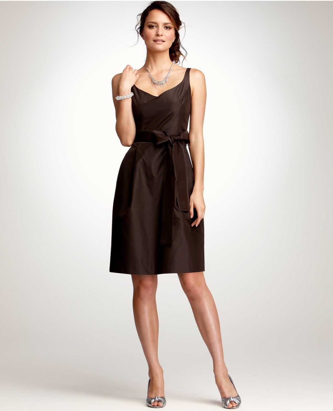 Ann taylor Silk Taffeta Vneck Bridesmaid Dress in Brown